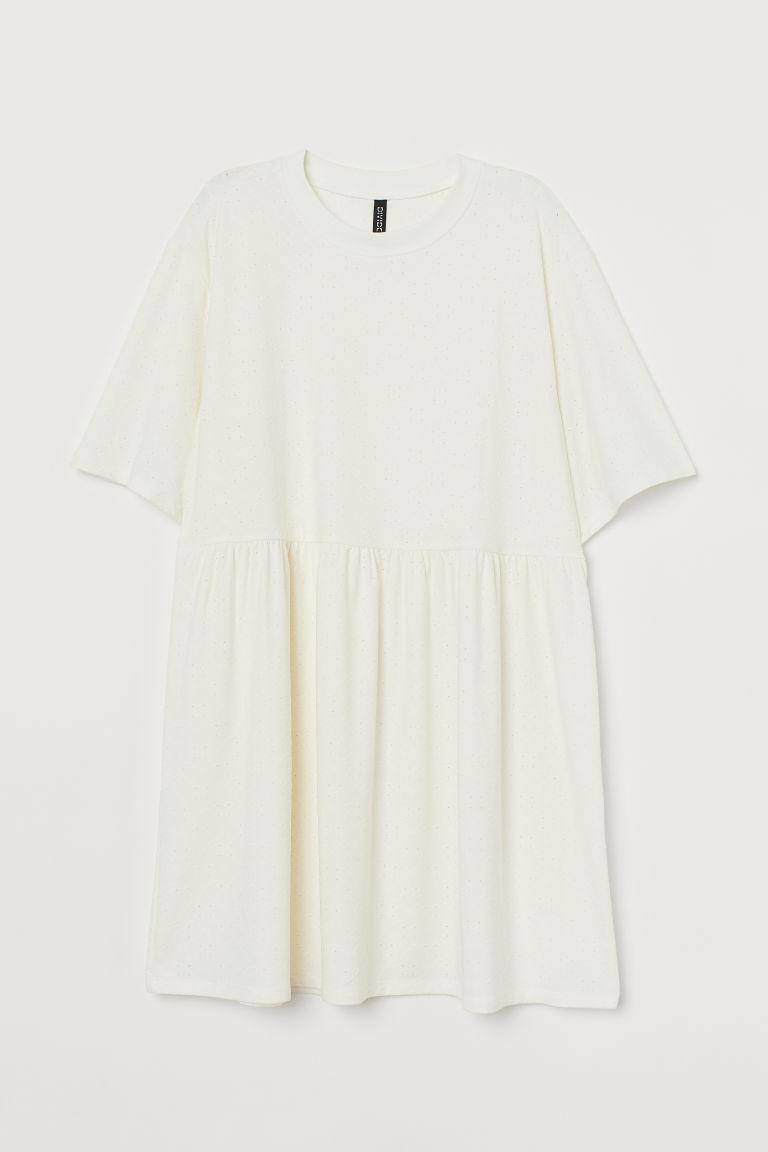H & M - 直身剪裁洋裝 - 白色