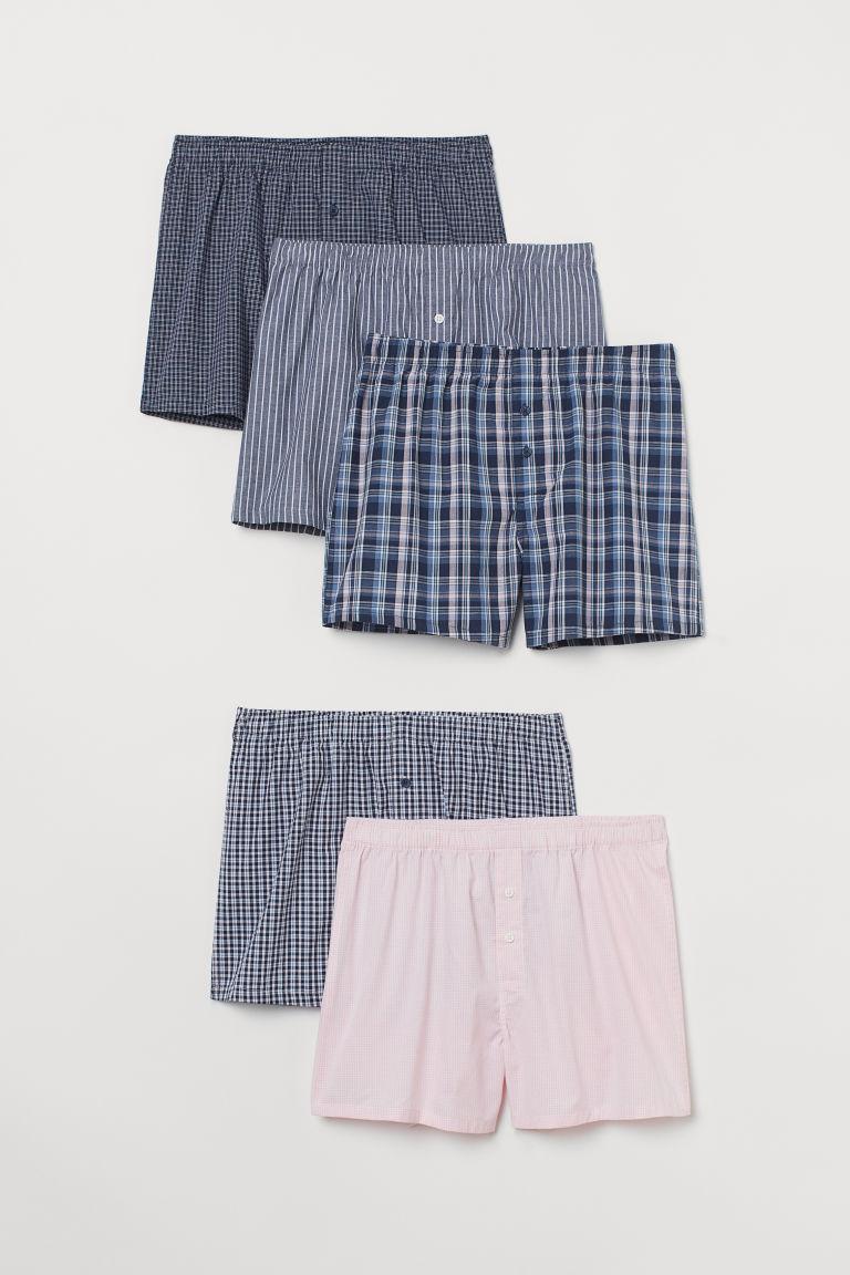H & M - 5件入平織四角褲 - 粉紅色
