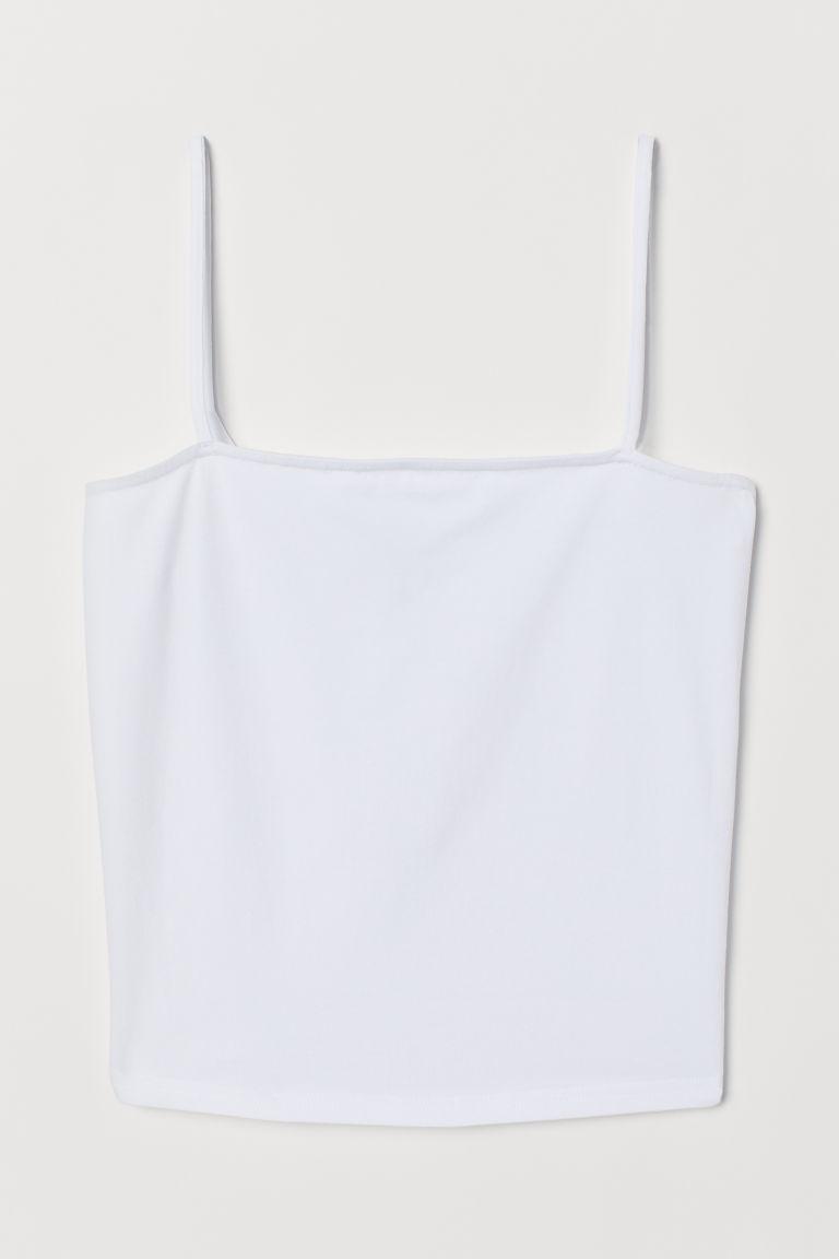 H & M - 短版平紋細肩帶上衣 - 白色
