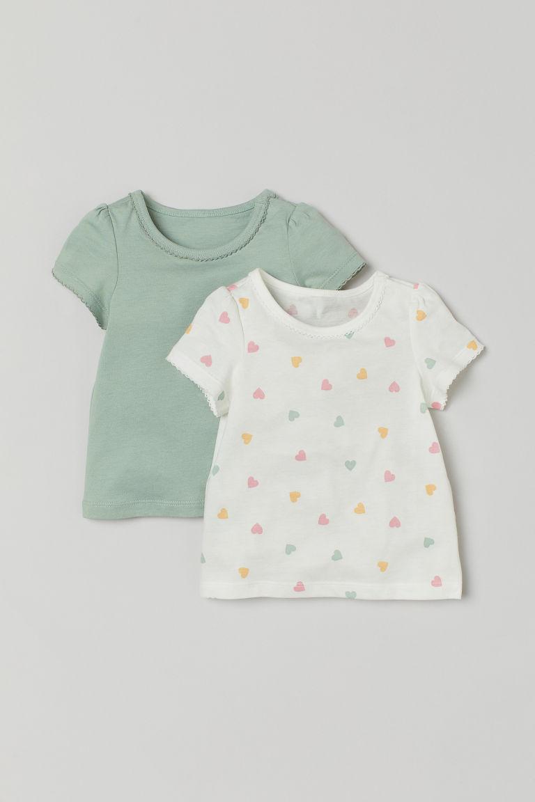 H & M - 2件入棉質T恤 - 綠色