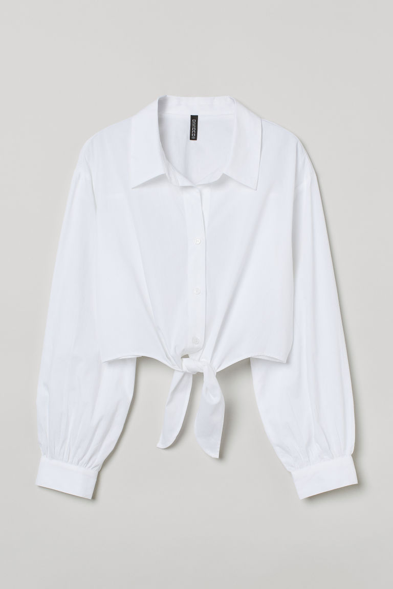 H & M - 前綁結棉質襯衫 - 白色