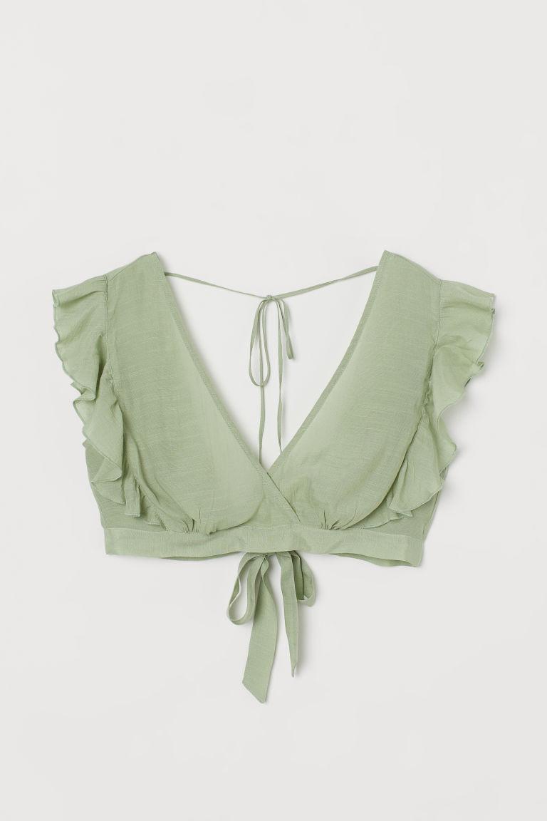 H & M - 荷葉邊海灘上衣 - 綠色