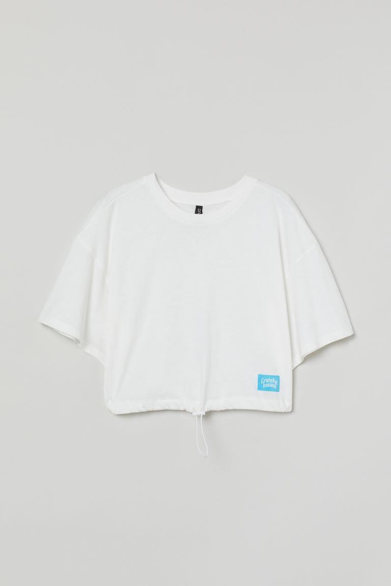 H & M - 抽繩上衣 - 白色