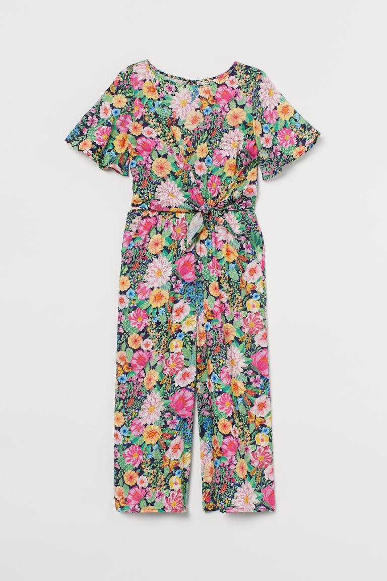 H & M - 花朵嫘縈連身褲裝 - 藍色