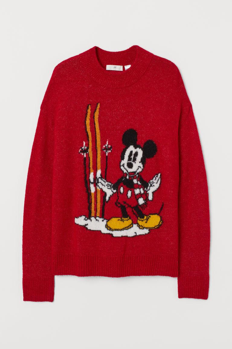 H & M - 提花針織套衫 - 紅色