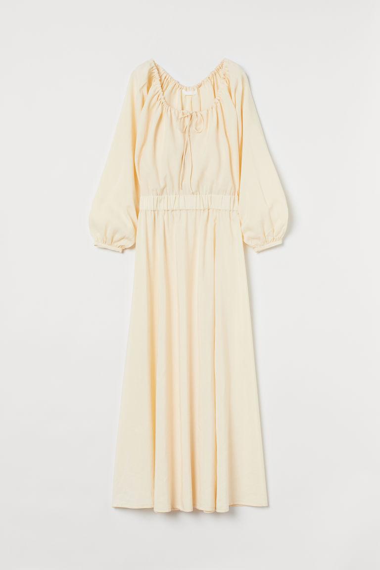 H & M - 萊賽爾混紡長洋裝 - 黃色