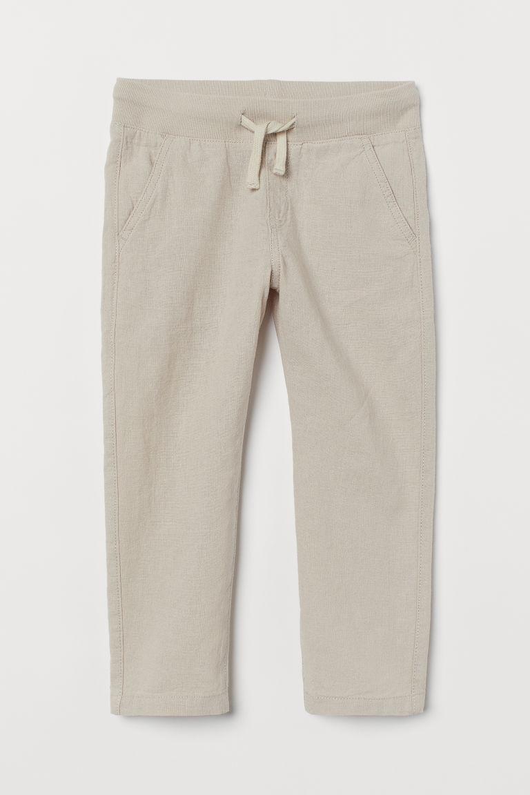 H & M - 貼身亞麻混紡卡其褲 - 褐色