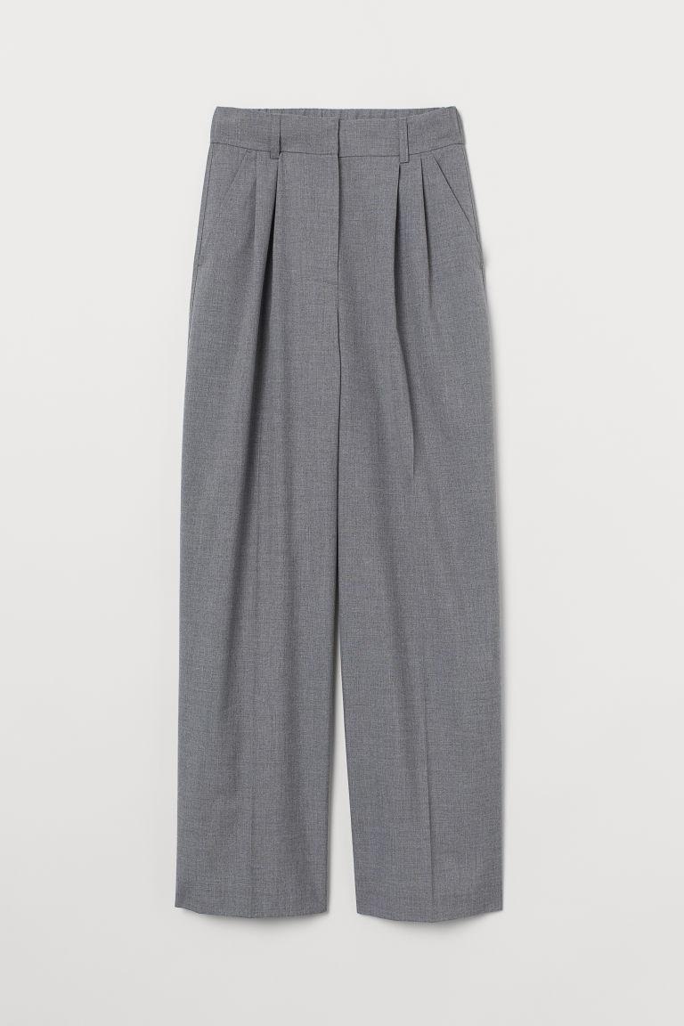 H & M - 寬管西裝褲 - 灰色
