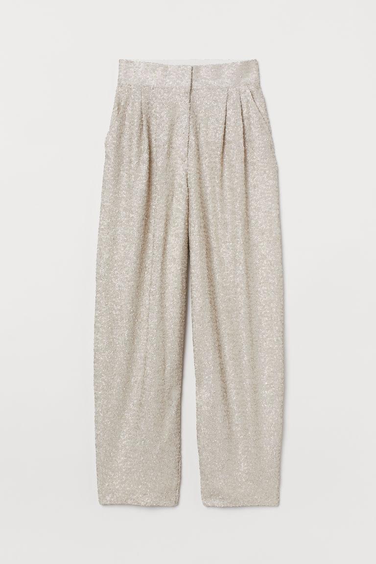 H & M - 亮片寬管褲 - 灰色