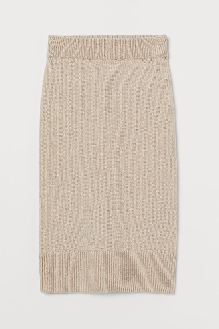 H & M - 針織裙 - 米黃色