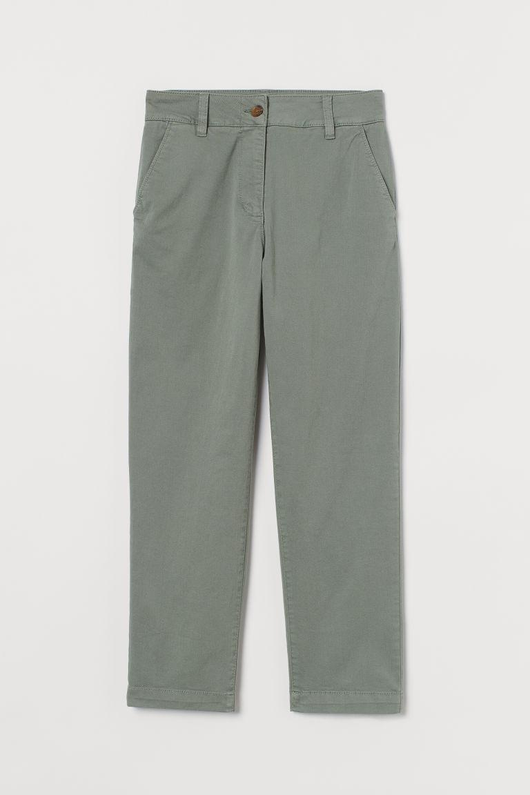 H & M - 棉質斜紋卡其褲 - 綠色