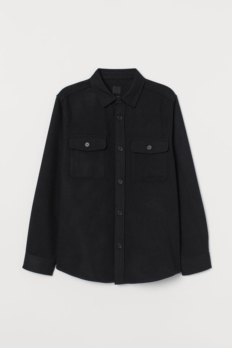 H & M - 斜紋襯衫式外套 - 黑色