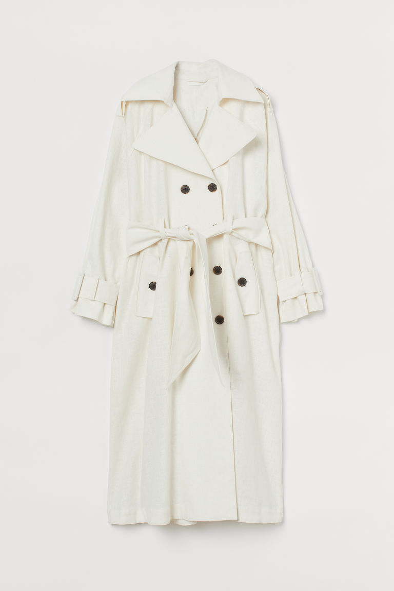H & M - 加大碼風衣 - 白色