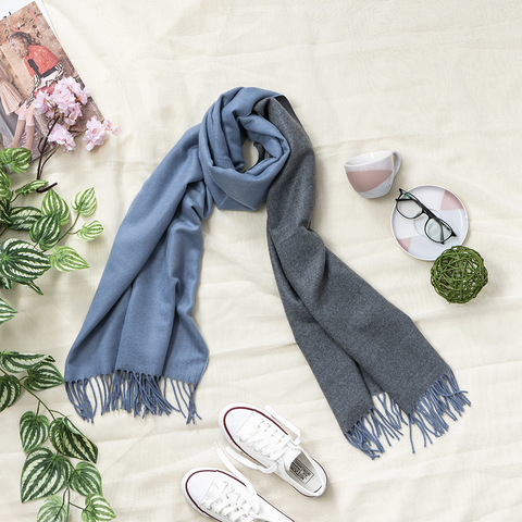 *兩色雙面兩用圍巾-深藍灰色
