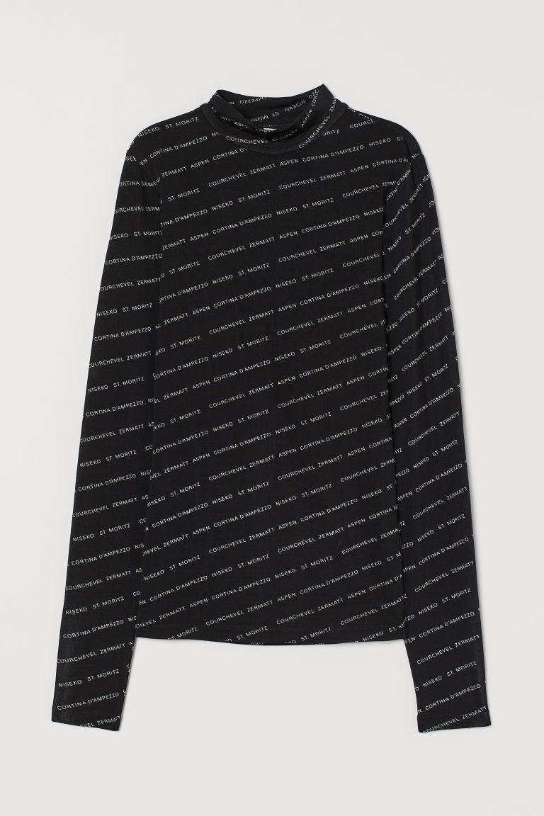 H & M - 高領上衣 - 黑色