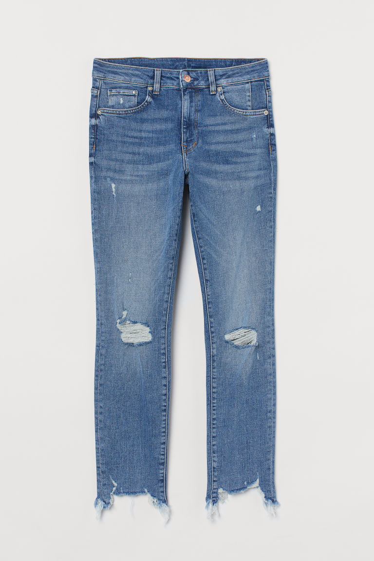 H & M - 窄管高腰九分牛仔褲 - 藍色