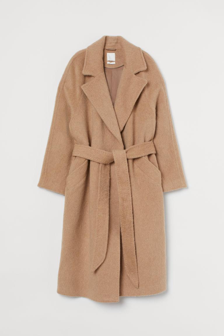H & M - 羊毛混紡大衣 - 米黃色