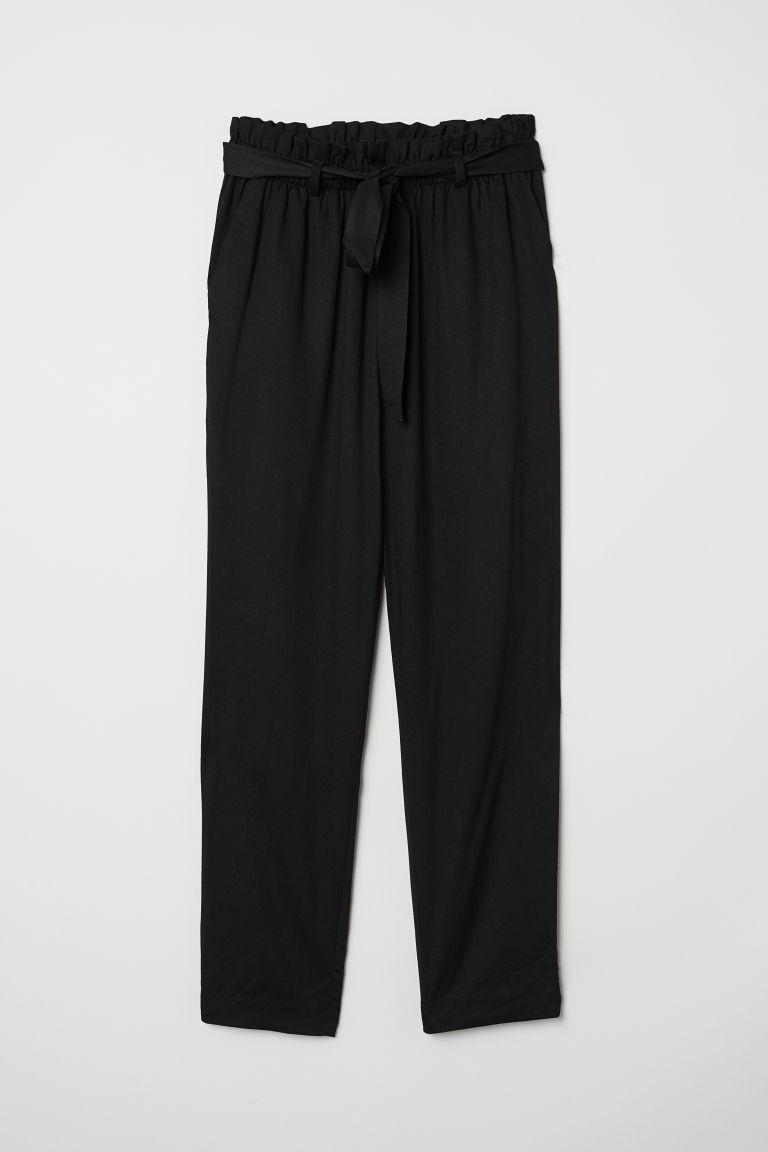 H & M - 紙袋造型腰圍長褲 - 黑色