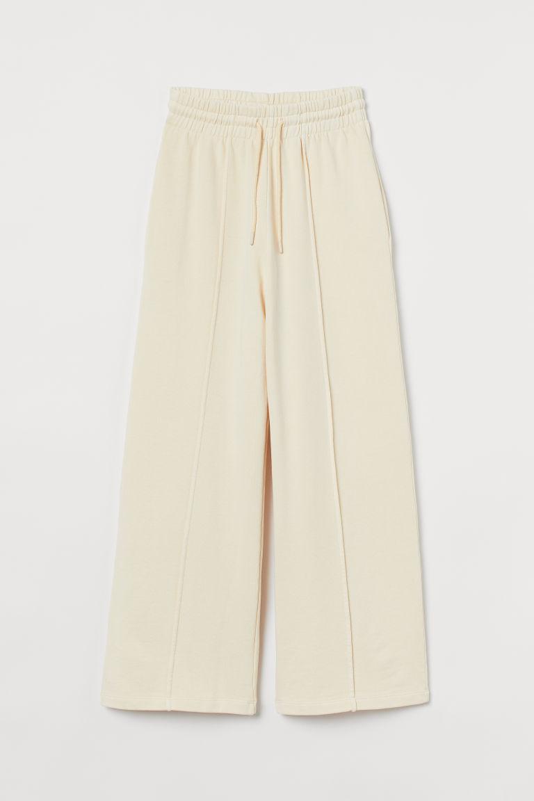 H & M - 褶線運動長褲 - 白色
