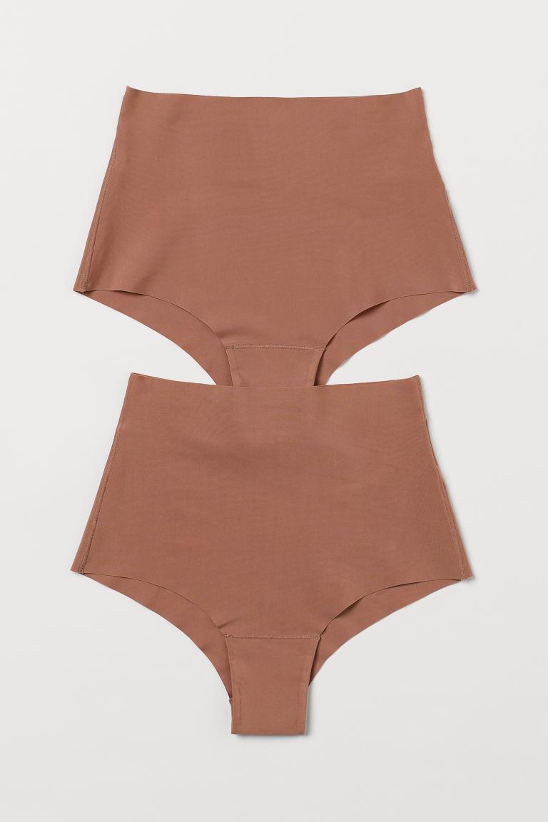H & M - 2件入微塑身內褲 - 米黃色