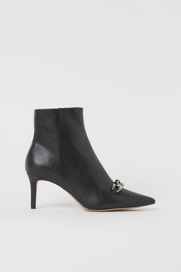 H & M - 鏈飾踝靴 - 黑色
