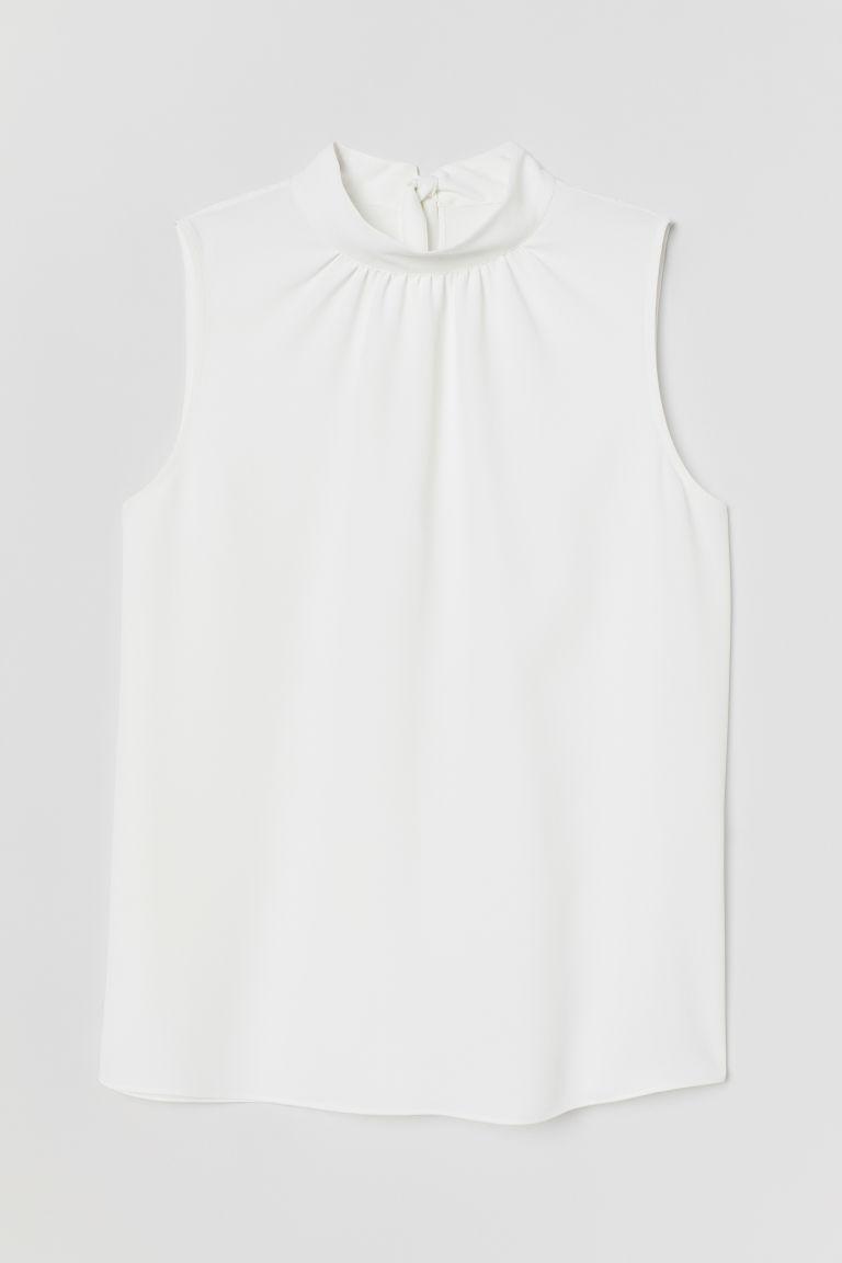 H & M - 綁帶上衣 - 白色