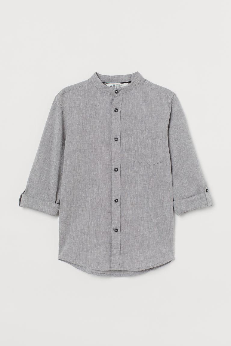H & M - 祖父領襯衫 - 灰色
