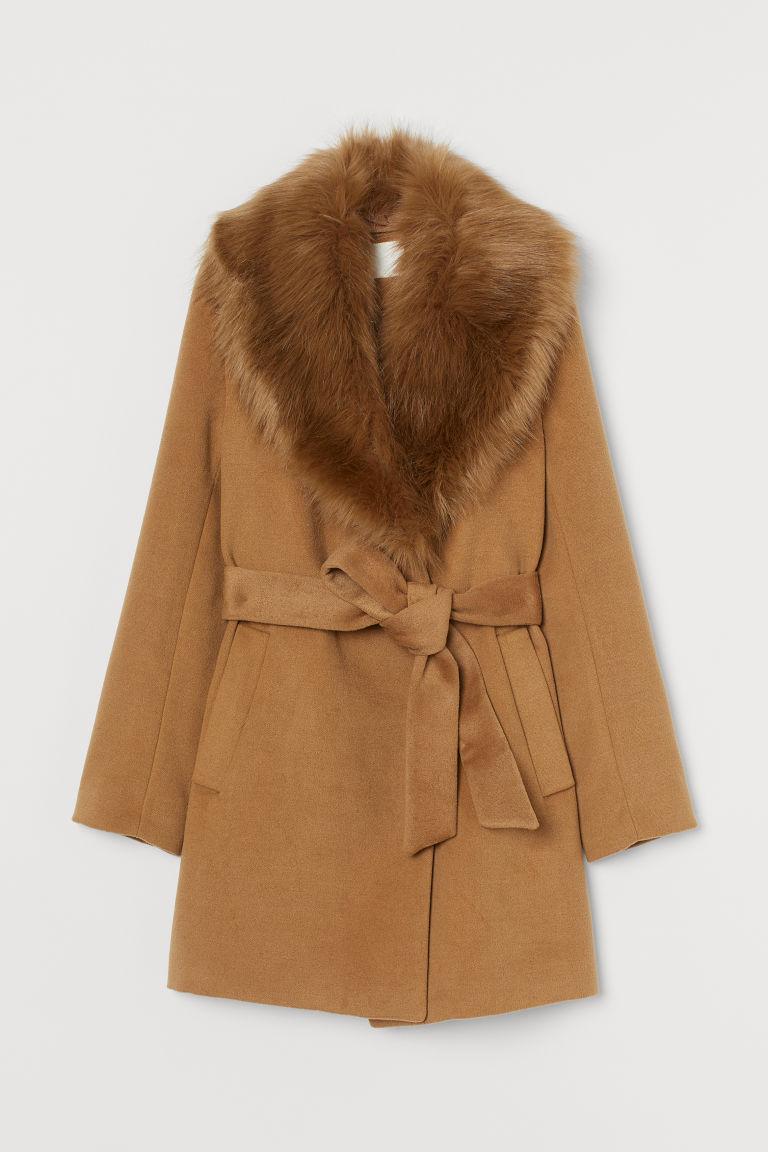 H & M - 仿皮草衣領大衣 - 米黃色
