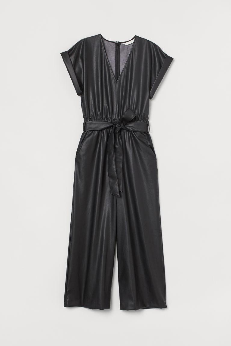 H & M - 仿皮連身褲裝 - 黑色