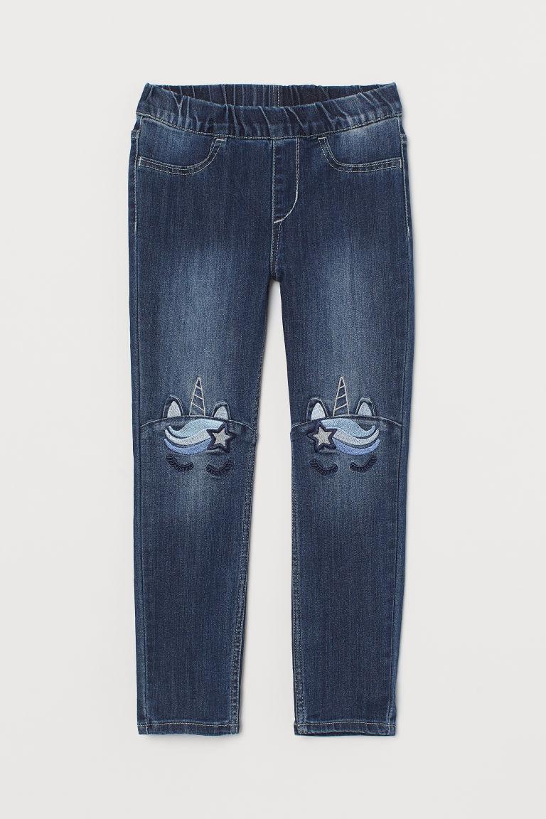 H & M - 丹寧內搭褲 - 藍色