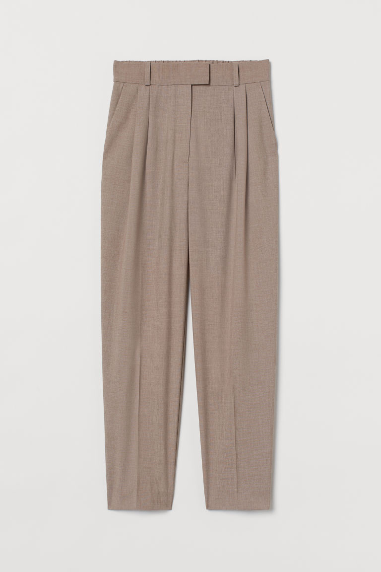 H & M - 褶線長褲 - 米黃色