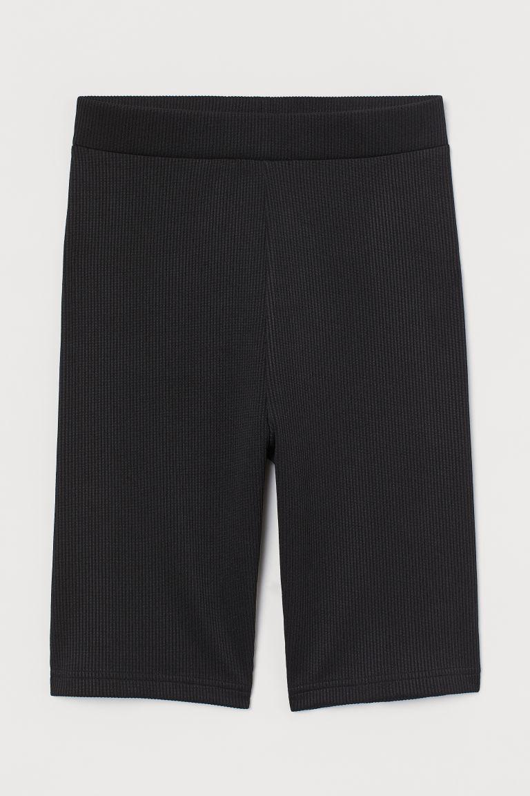 H & M - 羅紋騎士短褲 - 黑色