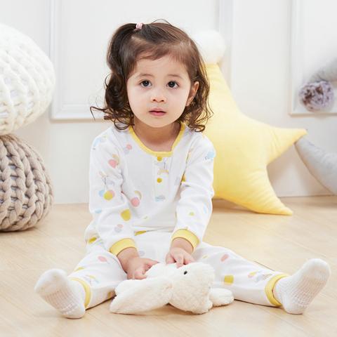 【Cloudy雲柔系列】麗嬰房 家居小象兩粒扣套裝(薄長袖+長褲組)-白色 (76cm~130cm)