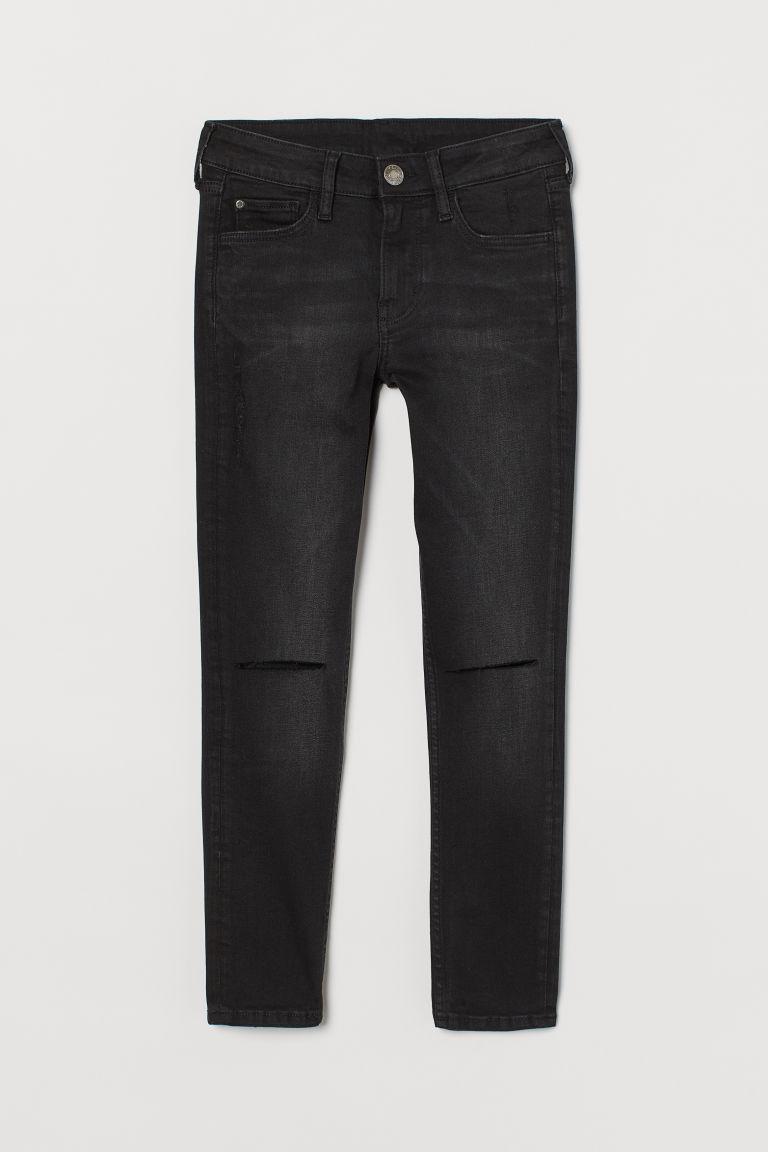 H & M - 窄管刷破牛仔褲 - 黑色