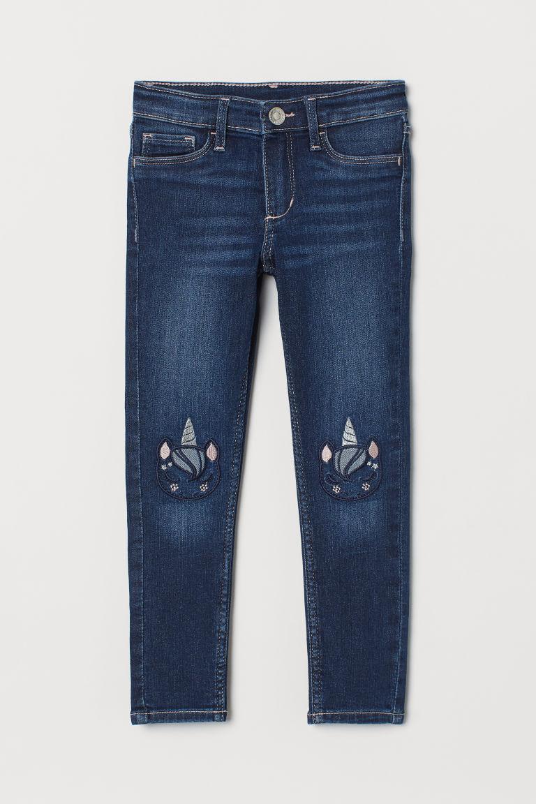 H & M - 超彈性窄管牛仔褲 - 藍色