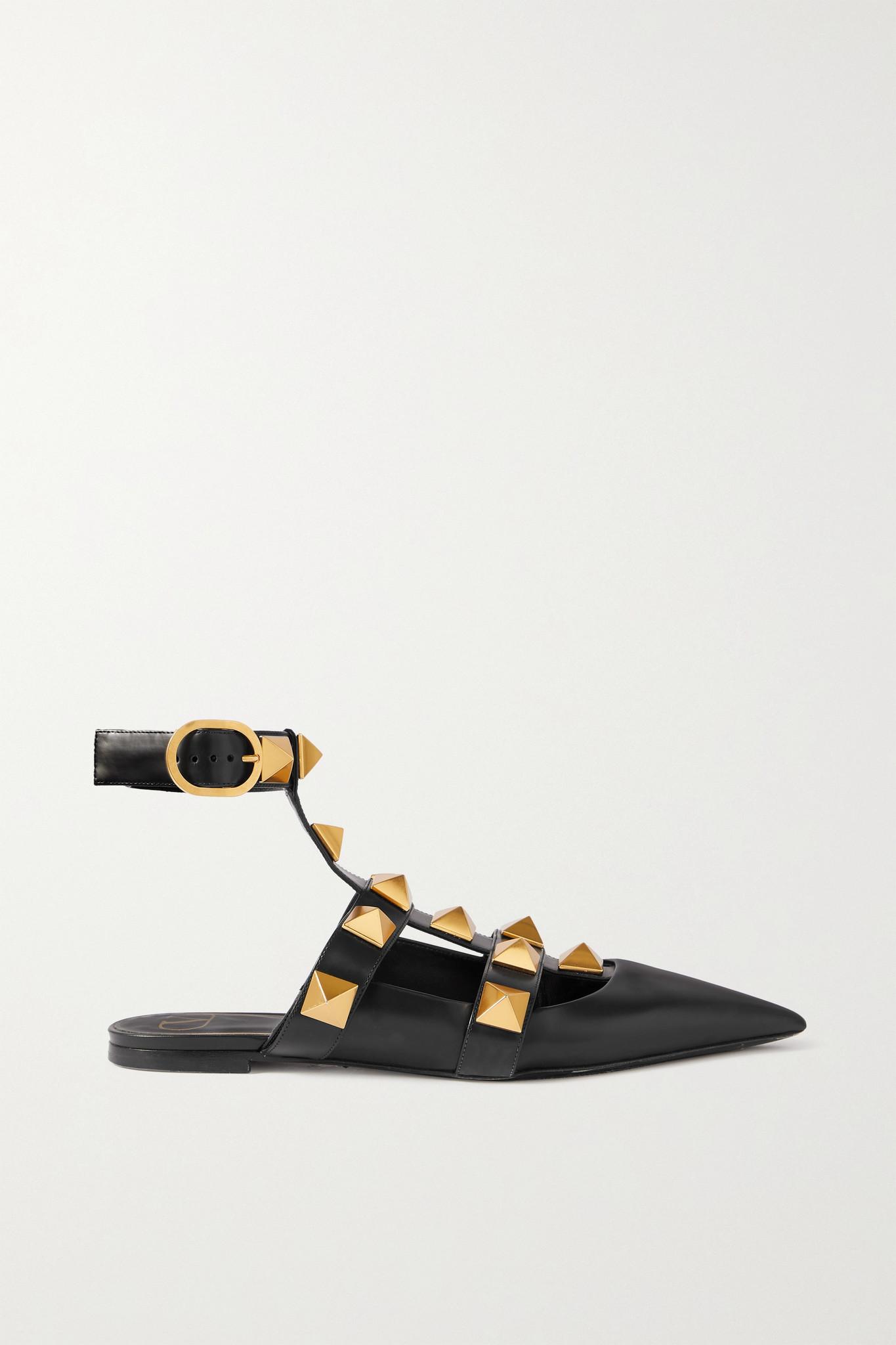 VALENTINO - Valentino Garavani Roman Stud Leather Point-toe Flats - Black - IT39.5
