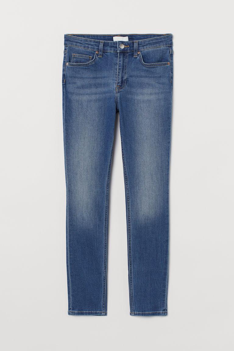H & M - 窄管中腰牛仔褲 - 藍色