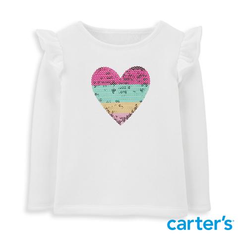 Carter's 台灣總代理 三色愛心荷葉袖上衣