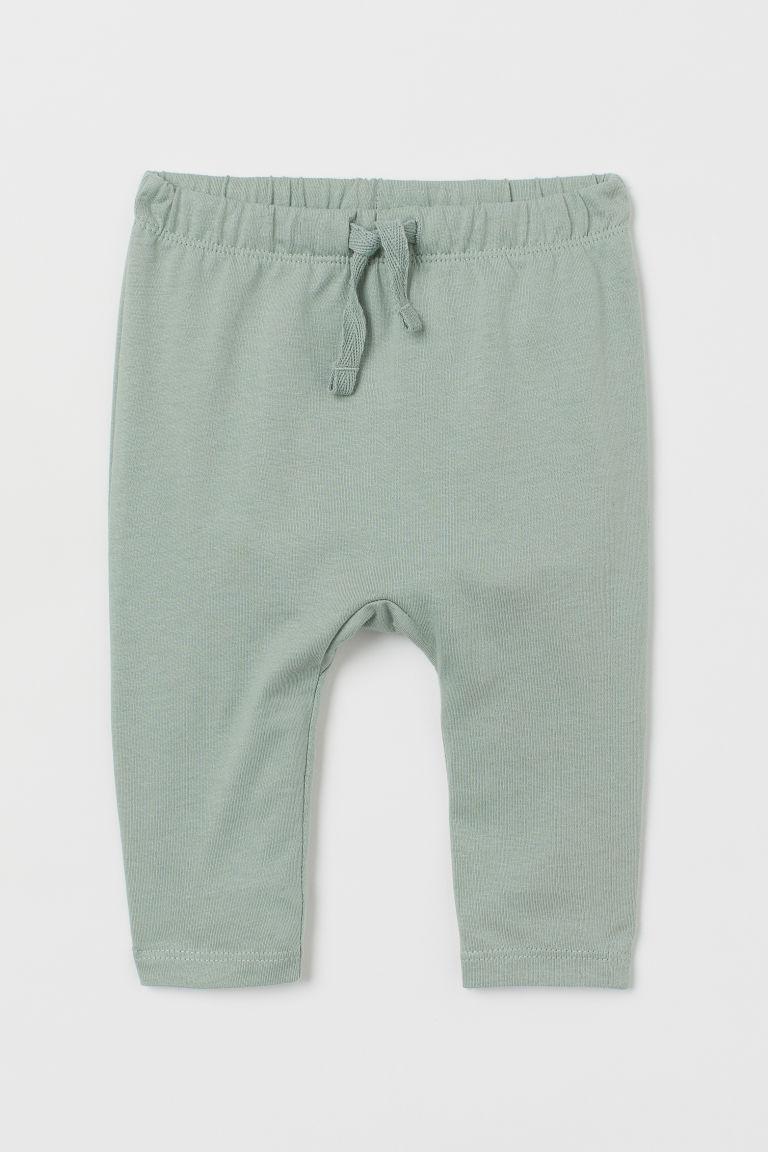 H & M - 棉質平紋長褲 - 綠色