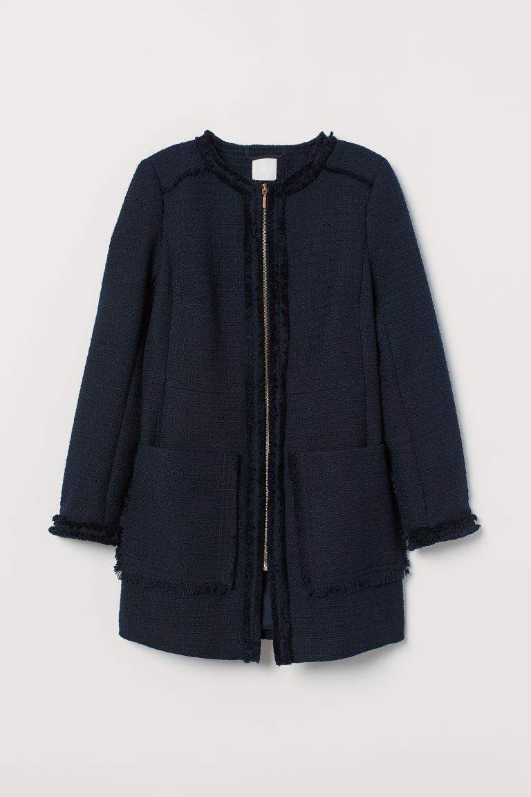 H & M - 毛圈紗大衣 - 藍色