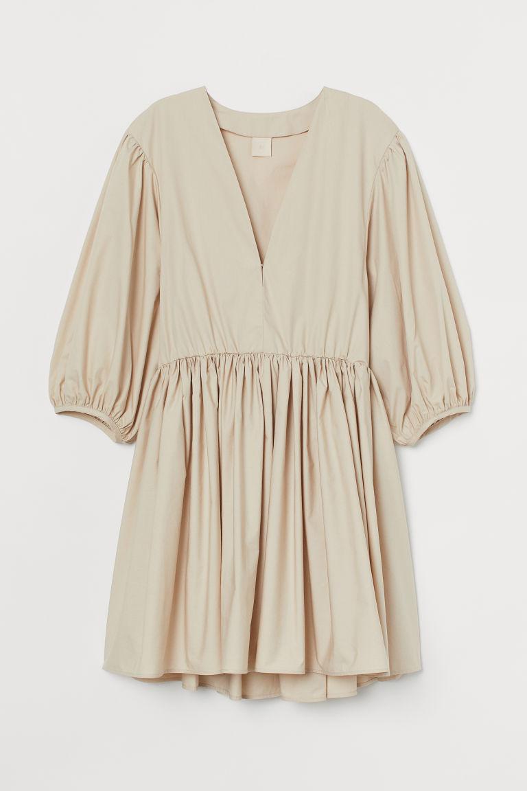 H & M - V領洋裝 - 米黃色