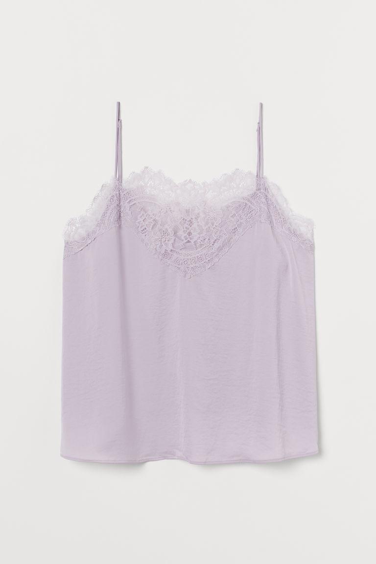 H & M - H & M+ 蕾絲飾邊上衣 - 紫色
