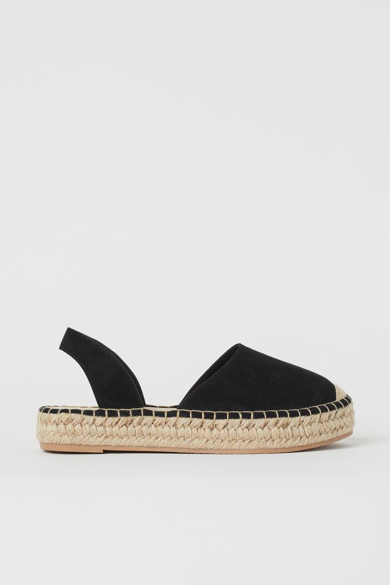 H & M - 露跟草編鞋 - 黑色