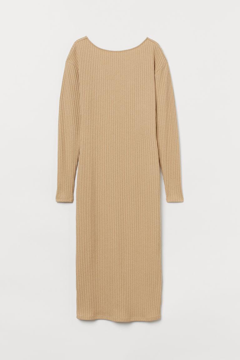 H & M - 羅紋平紋洋裝 - 米黃色
