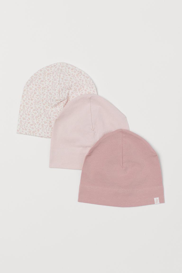 H & M - 3入裝棉質平紋帽 - 粉紅色
