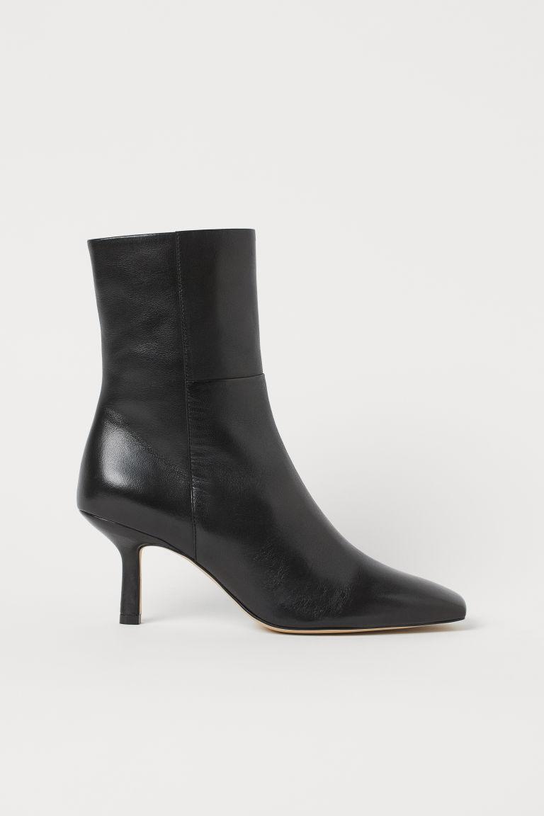 H & M - 真皮踝靴 - 黑色
