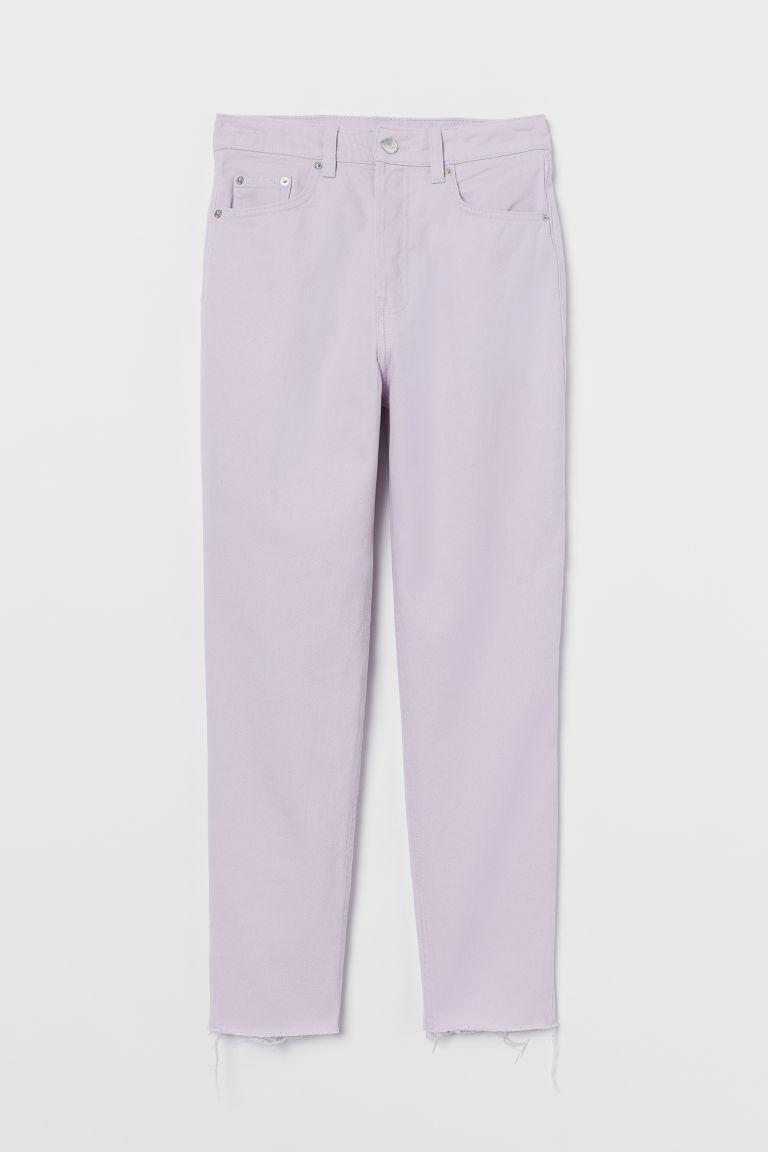 H & M - 貼身老媽高腰九分牛仔褲 - 紫色