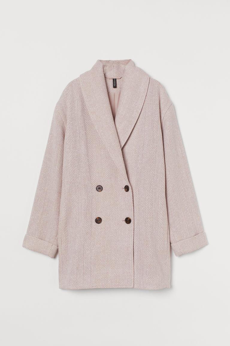 H & M - 羊毛混紡大衣 - 粉紅色