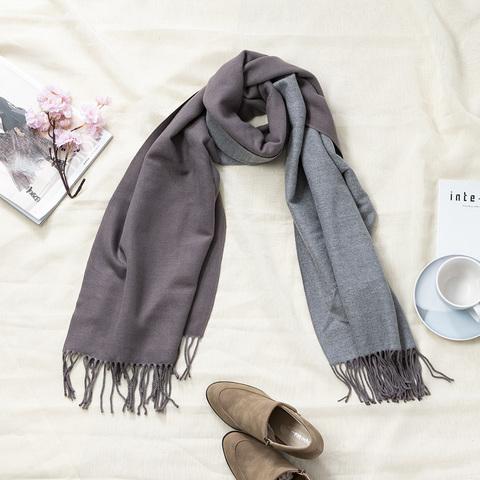 *兩色雙面兩用圍巾-醬紫灰色