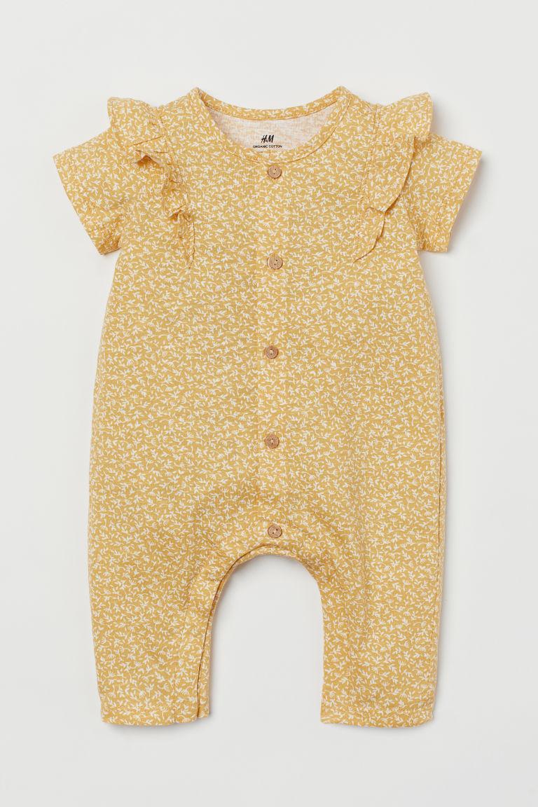 H & M - 棉質平紋連身褲裝 - 黃色